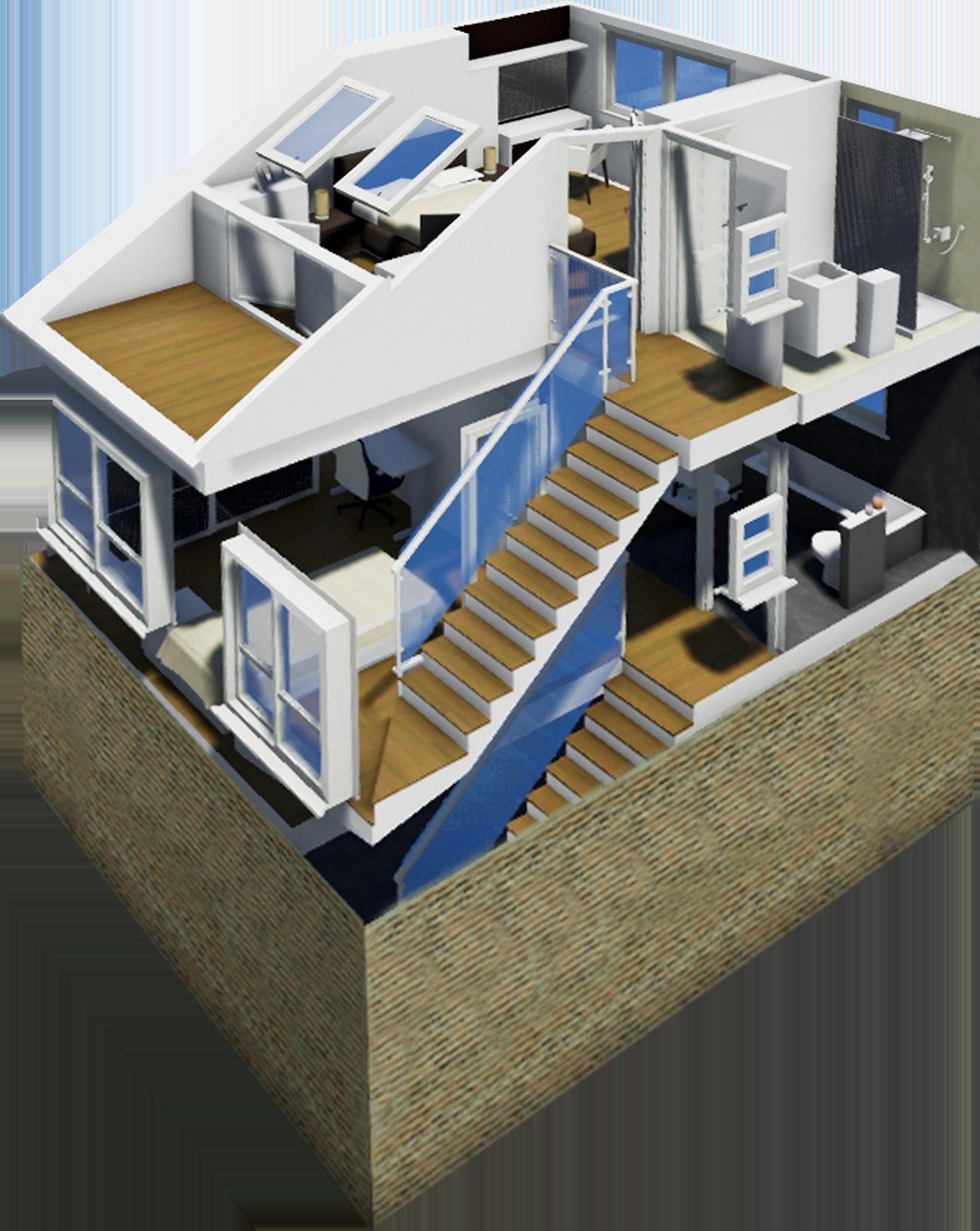 Gabriele Albanese - Portfolio - Casa AL_19 - London UK - Modellazione Tridimensionale - Spaccato assonometrico